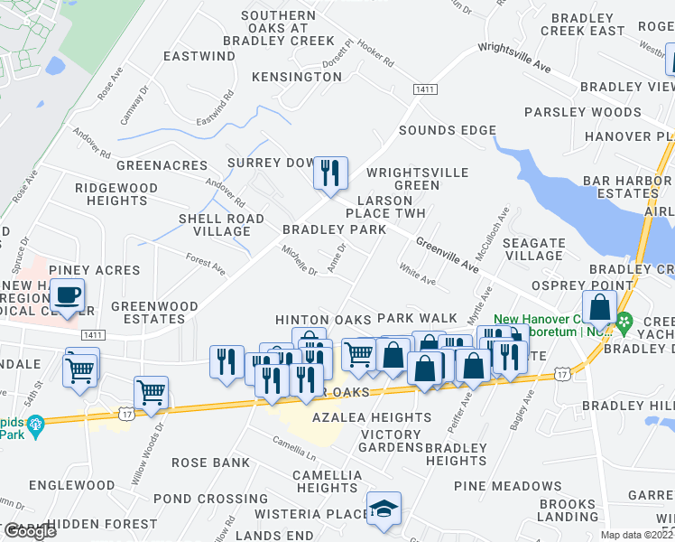 map of restaurants, bars, coffee shops, grocery stores, and more near 5802 Anne Drive in Wilmington