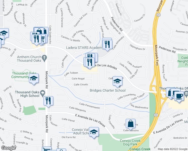 map of restaurants, bars, coffee shops, grocery stores, and more near 2574 Calle Narciso in Thousand Oaks