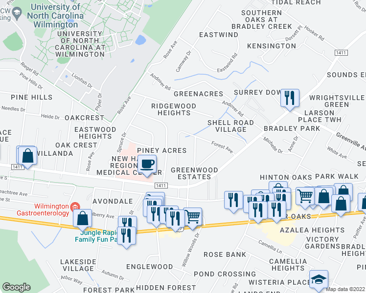 map of restaurants, bars, coffee shops, grocery stores, and more near 1123 Greenwood Avenue in Wilmington