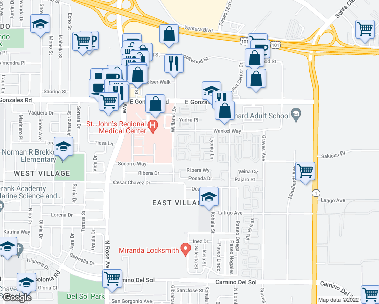 map of restaurants, bars, coffee shops, grocery stores, and more near Senna Way in Oxnard