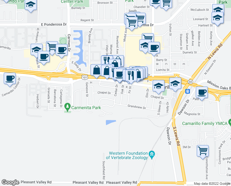 map of restaurants, bars, coffee shops, grocery stores, and more near Cedar Drive in Camarillo