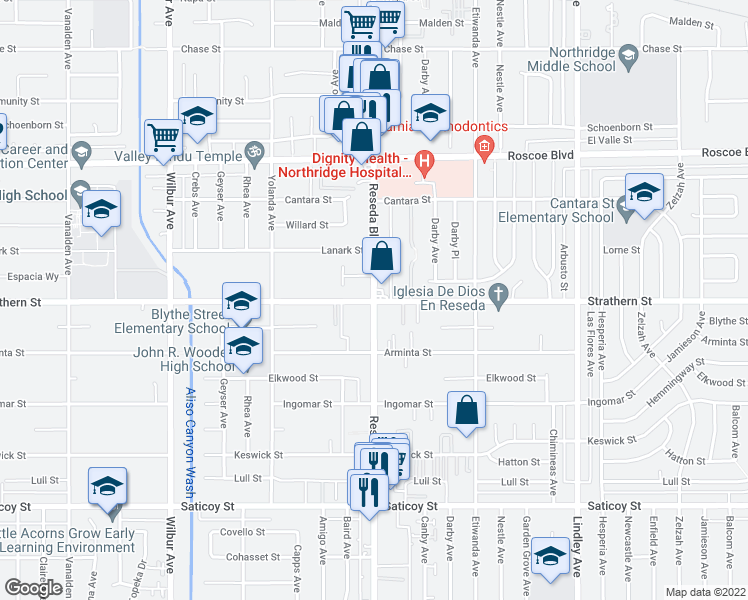 map of restaurants, bars, coffee shops, grocery stores, and more near 7960-7998 Reseda Boulevard in Los Angeles