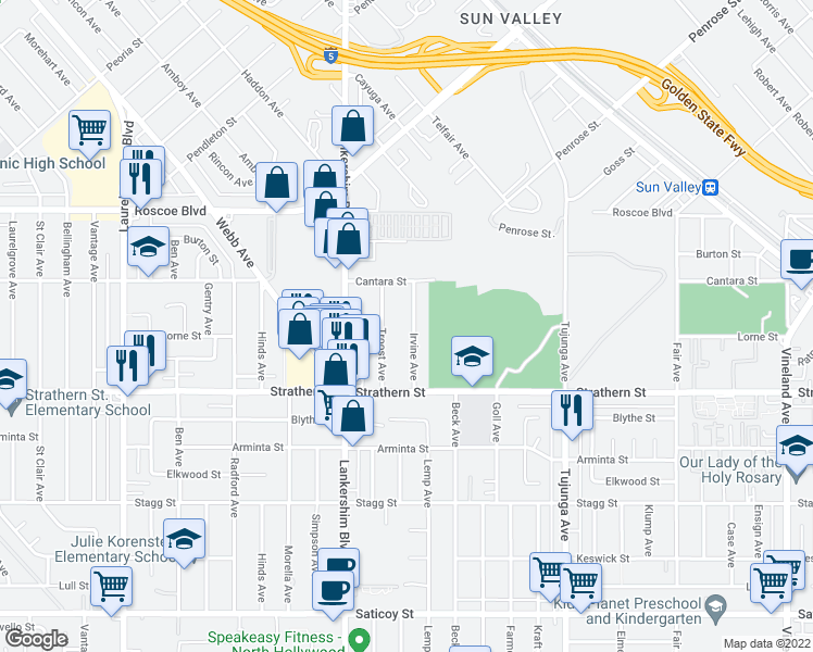 map of restaurants, bars, coffee shops, grocery stores, and more near 8101 Irvine Ave in North Hollywood