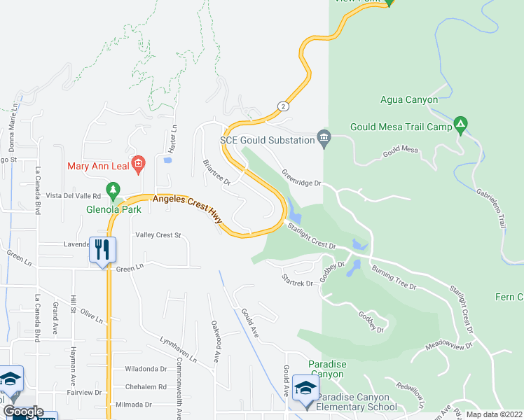 map of restaurants, bars, coffee shops, grocery stores, and more near 5649 Bramblewood Road in La Cañada Flintridge