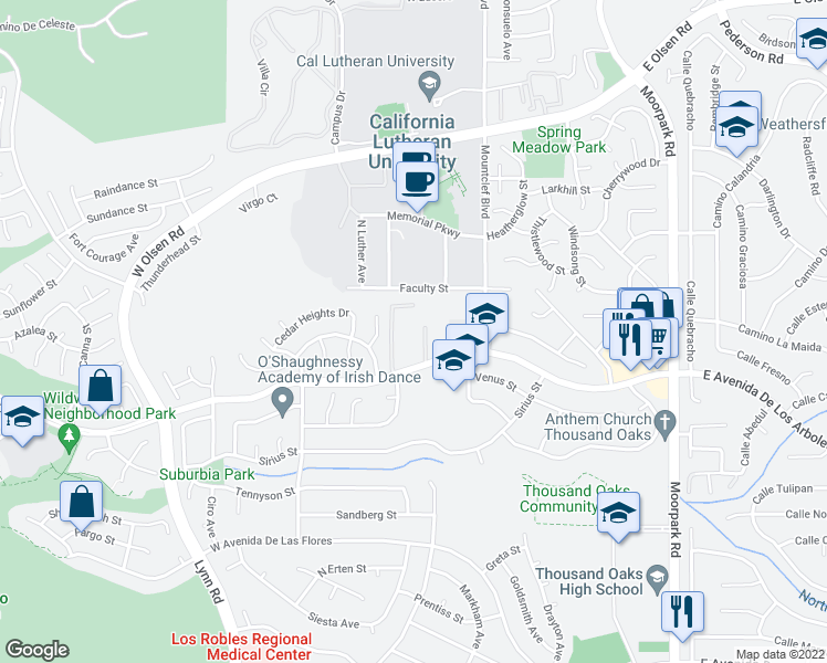 map of restaurants, bars, coffee shops, grocery stores, and more near Birch Creek Road in Thousand Oaks