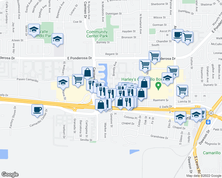 map of restaurants, bars, coffee shops, grocery stores, and more near 361 Jalisco Court in Camarillo