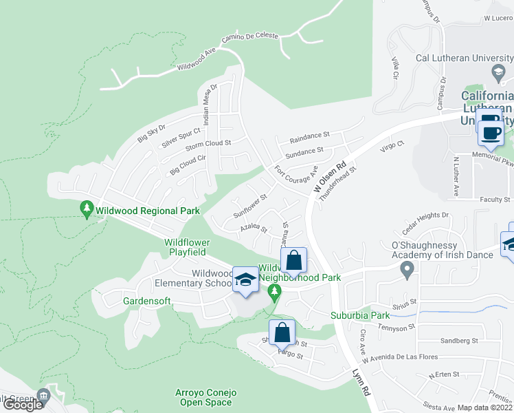 map of restaurants, bars, coffee shops, grocery stores, and more near 3012 Sunflower Street in Thousand Oaks