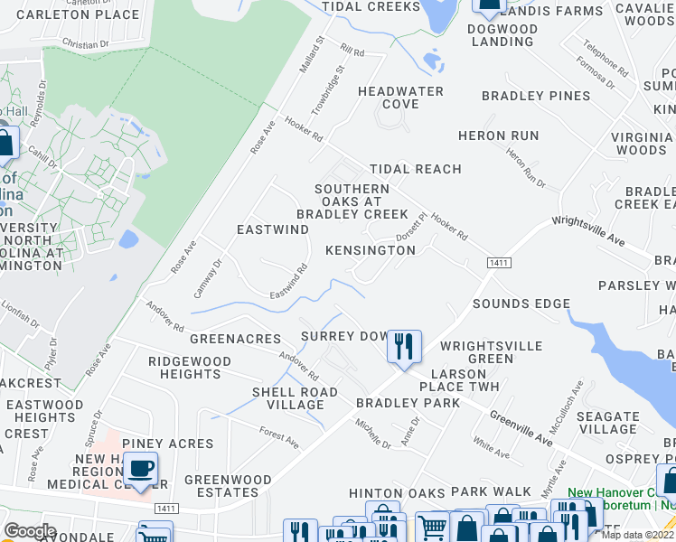 map of restaurants, bars, coffee shops, grocery stores, and more near 6000 Dorsett Place in Wilmington