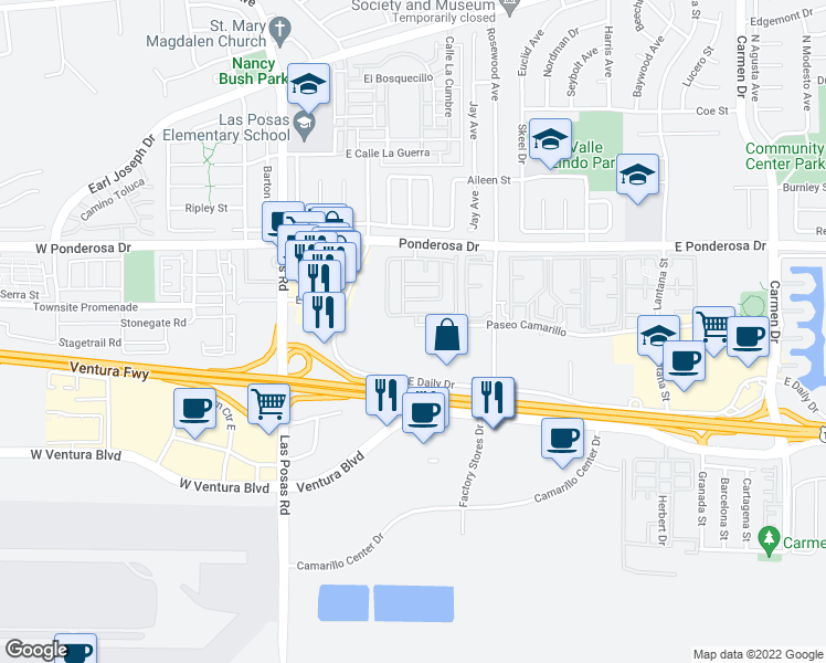 map of restaurants, bars, coffee shops, grocery stores, and more near 390 Paseo Camarillo in Camarillo