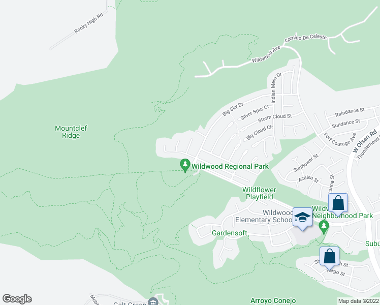 map of restaurants, bars, coffee shops, grocery stores, and more near 3020 Shadow Hill Circle in Thousand Oaks
