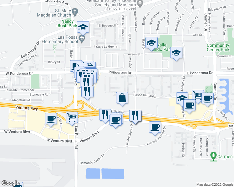 map of restaurants, bars, coffee shops, grocery stores, and more near 448 Paseo Del Valle in Camarillo