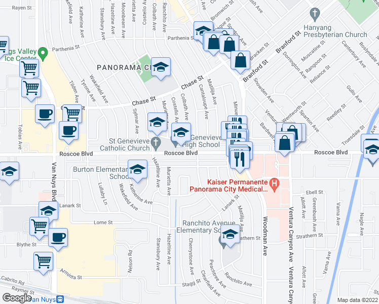 map of restaurants, bars, coffee shops, grocery stores, and more near 13939 Burton Street in Los Angeles