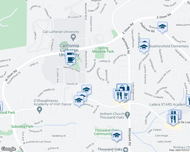 map of restaurants, bars, coffee shops, grocery stores, and more near 53 Del Ray Circle in Thousand Oaks