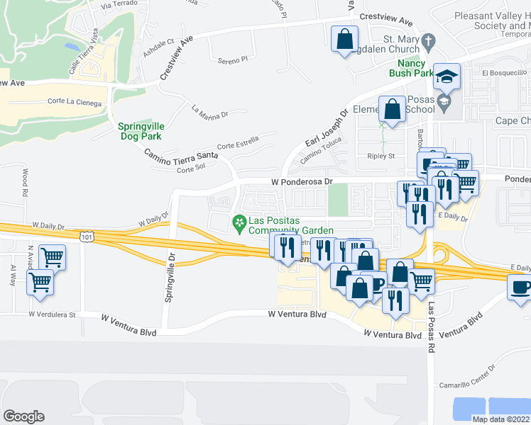 map of restaurants, bars, coffee shops, grocery stores, and more near 333 Townsite Promenade in Camarillo