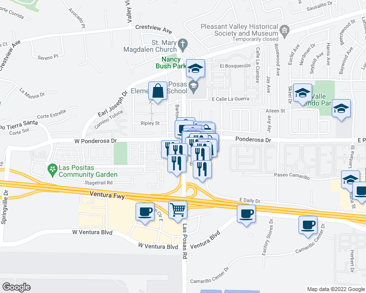 map of restaurants, bars, coffee shops, grocery stores, and more near 631 North Las Posas Road in Camarillo