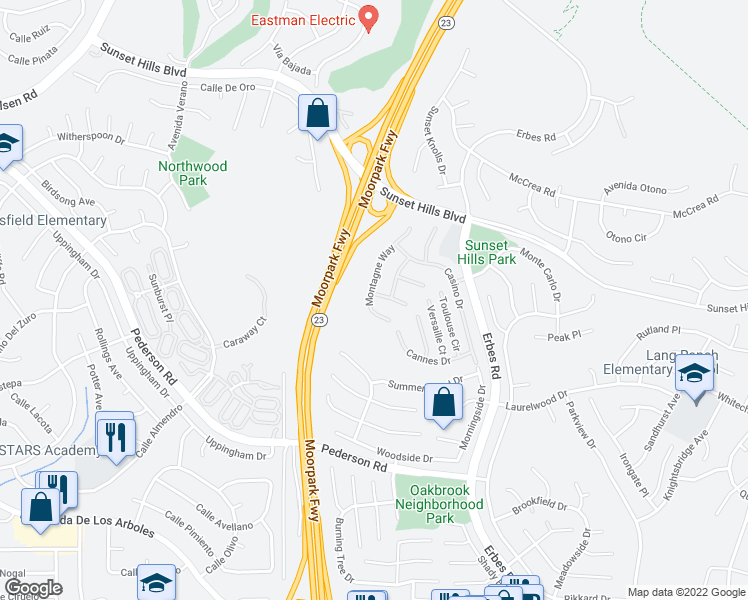 map of restaurants, bars, coffee shops, grocery stores, and more near 1702 Roulette Circle in Thousand Oaks