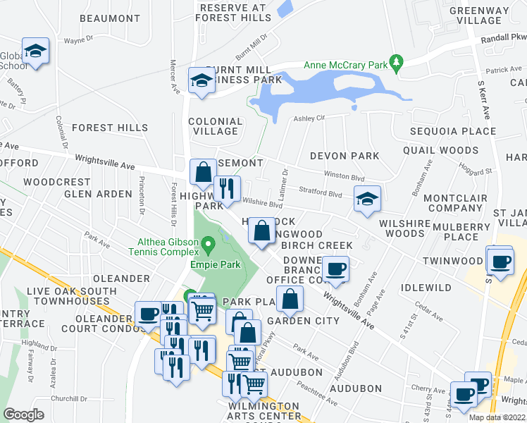 map of restaurants, bars, coffee shops, grocery stores, and more near 3402 Wilshire Boulevard in Wilmington