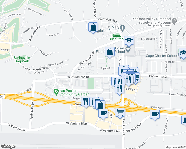 map of restaurants, bars, coffee shops, grocery stores, and more near 212 Camino Cortina in Camarillo