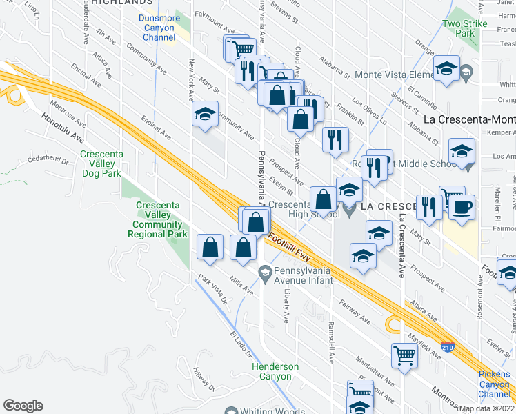 map of restaurants, bars, coffee shops, grocery stores, and more near 4201 Pennsylvania Avenue in Glendale