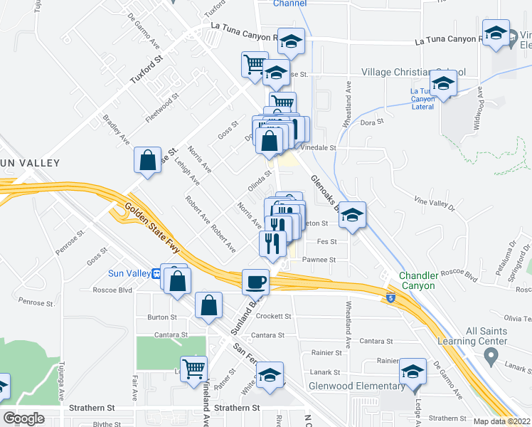 map of restaurants, bars, coffee shops, grocery stores, and more near 10825 Nettleton Street in Los Angeles