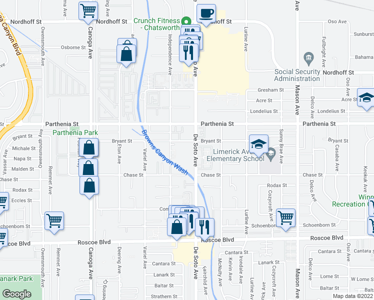 map of restaurants, bars, coffee shops, grocery stores, and more near 20947 Bryant Street in Los Angeles