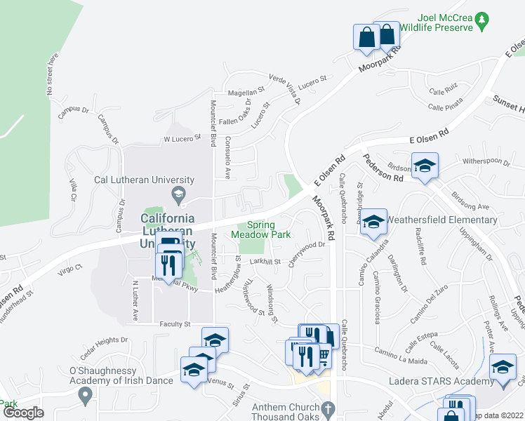map of restaurants, bars, coffee shops, grocery stores, and more near 129 McAfee Court in Thousand Oaks