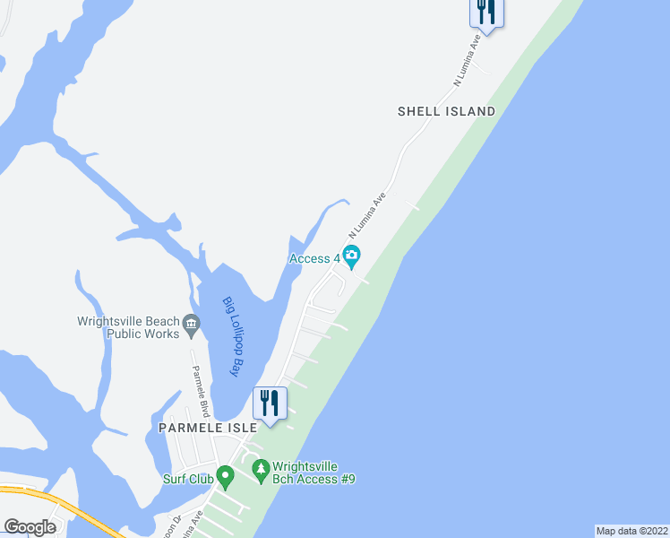 map of restaurants, bars, coffee shops, grocery stores, and more near 2510 North Lumina Avenue in Wrightsville Beach