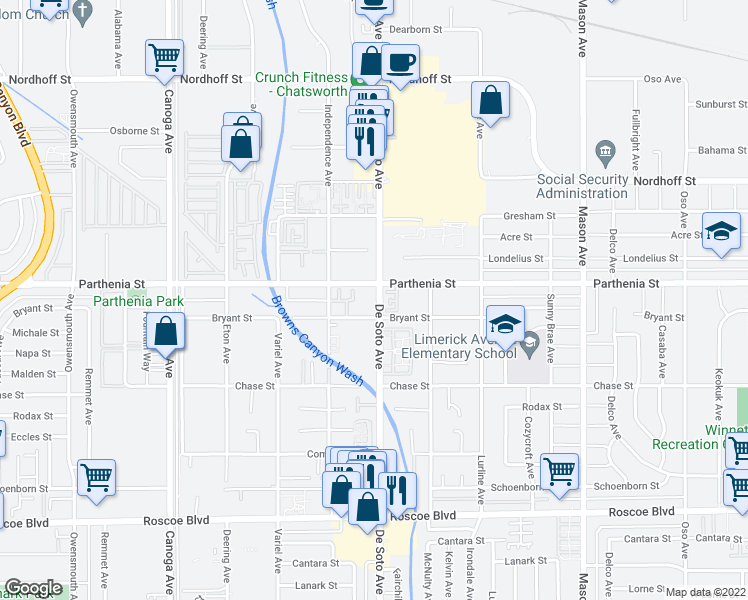 map of restaurants, bars, coffee shops, grocery stores, and more near 8609 De Soto Avenue in Los Angeles