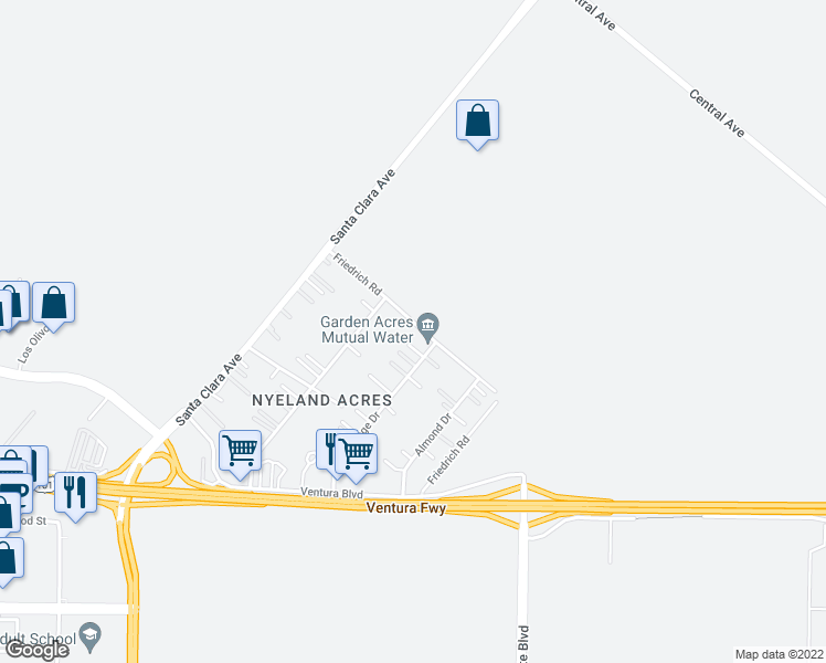 map of restaurants, bars, coffee shops, grocery stores, and more near 2824 Friedrich Road in Oxnard
