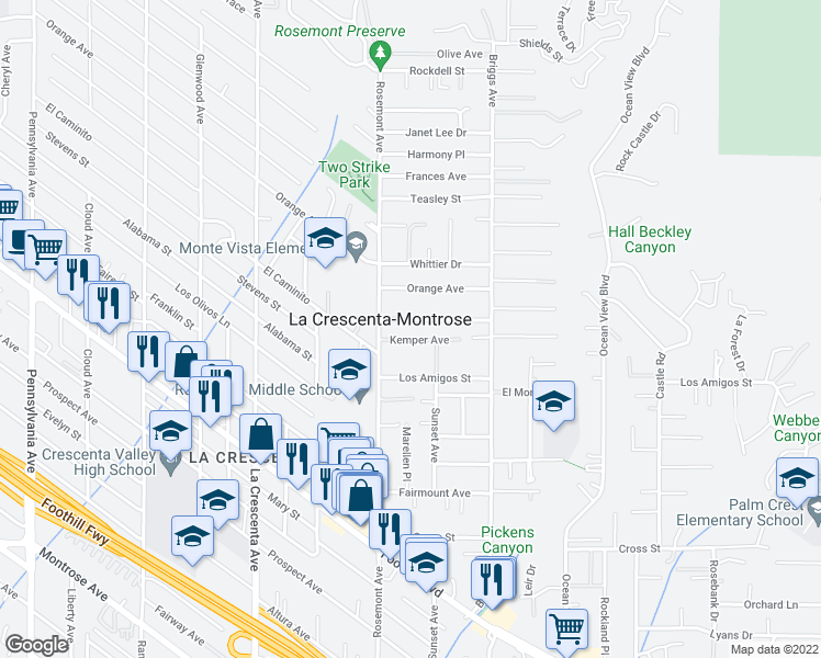 map of restaurants, bars, coffee shops, grocery stores, and more near 2528 Laughlin Avenue in La Crescenta-Montrose