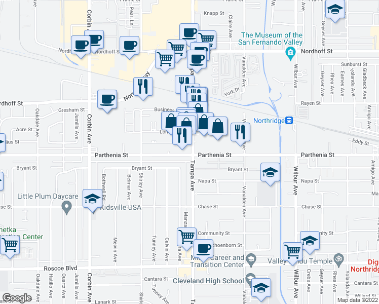 map of restaurants, bars, coffee shops, grocery stores, and more near 8717 Tampa Avenue in Los Angeles