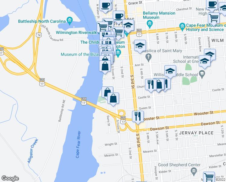 map of restaurants, bars, coffee shops, grocery stores, and more near 502 South Front Street in Wilmington