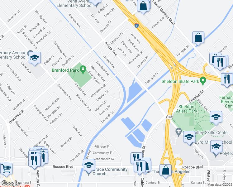 Arletacalifornia Map.13132 Bryson Street Los Angeles Ca Walk Score