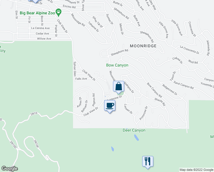 map of restaurants, bars, coffee shops, grocery stores, and more near 1223 Wolf Creek Court in Big Bear Lake