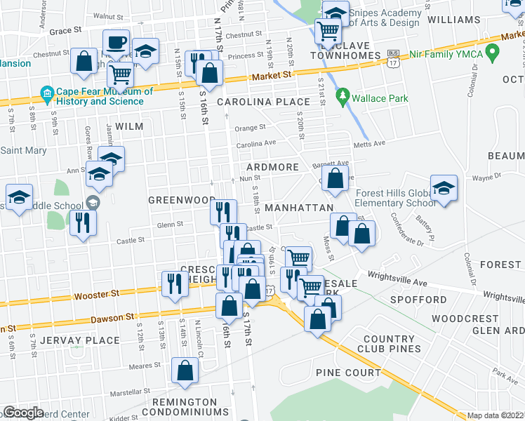 map of restaurants, bars, coffee shops, grocery stores, and more near 503 South 18th Street in Wilmington