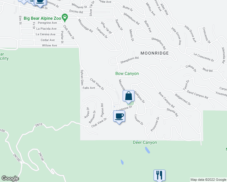 map of restaurants, bars, coffee shops, grocery stores, and more near 1191 Bear Meadows Lane in Big Bear Lake