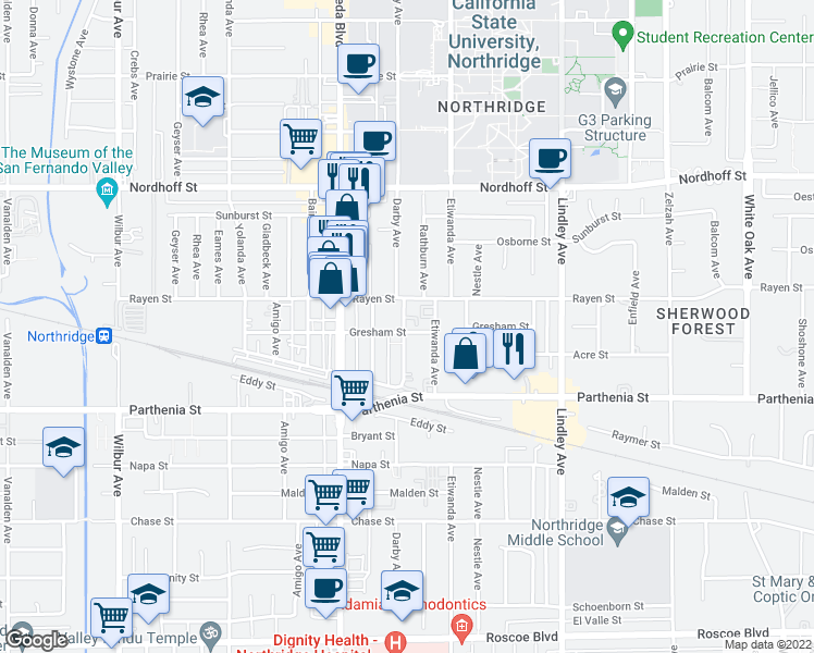 map of restaurants, bars, coffee shops, grocery stores, and more near 8808 Darby Avenue in Los Angeles