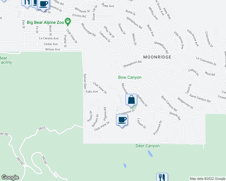map of restaurants, bars, coffee shops, grocery stores, and more near 43100 Bear Creek Court in Big Bear Lake