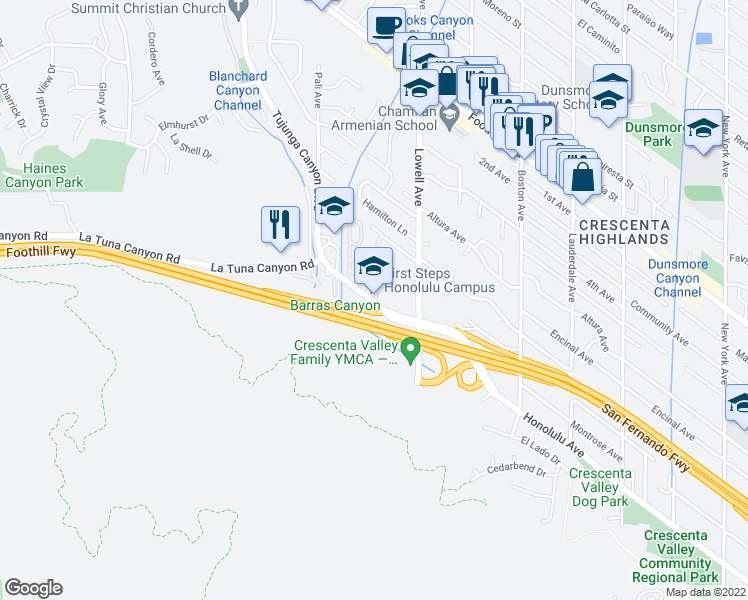 map of restaurants, bars, coffee shops, grocery stores, and more near 6235 Honolulu Avenue in Los Angeles