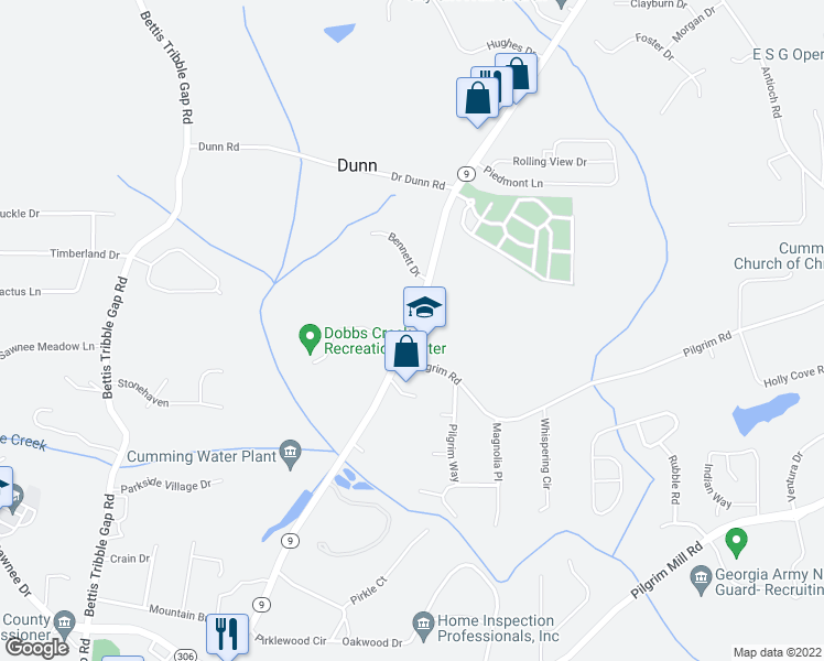 map of restaurants, bars, coffee shops, grocery stores, and more near 1115 Dahlonega Highway in Cumming