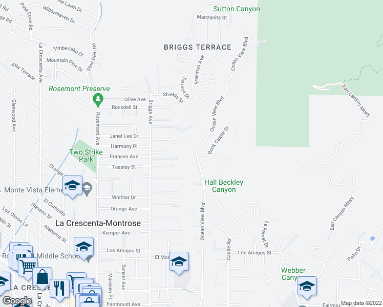 map of restaurants, bars, coffee shops, grocery stores, and more near 5391 Ocean View Boulevard in La Cañada Flintridge
