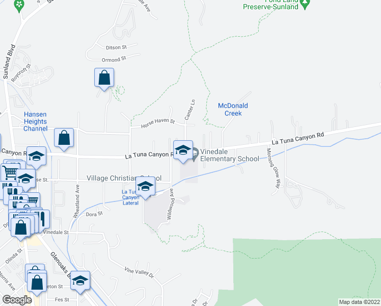 map of restaurants, bars, coffee shops, grocery stores, and more near 10205 La Tuna Canyon Road in Los Angeles