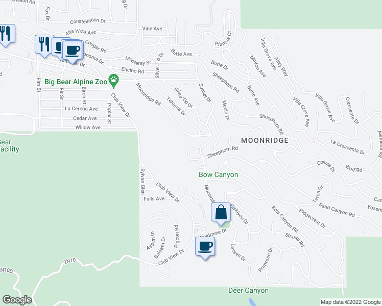 map of restaurants, bars, coffee shops, grocery stores, and more near 43136 Sheephorn Road in Big Bear Lake