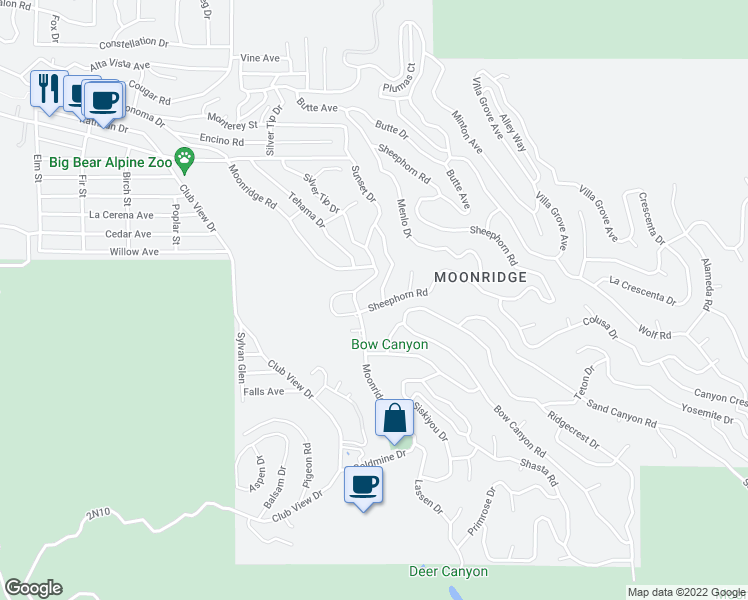 map of restaurants, bars, coffee shops, grocery stores, and more near 43194 Sheephorn Road in Big Bear Lake