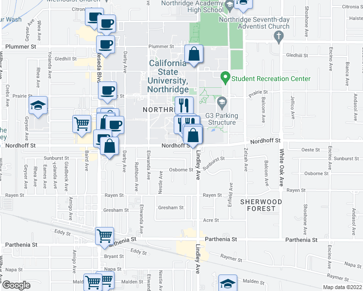 map of restaurants, bars, coffee shops, grocery stores, and more near Nordhoff Street in Los Angeles