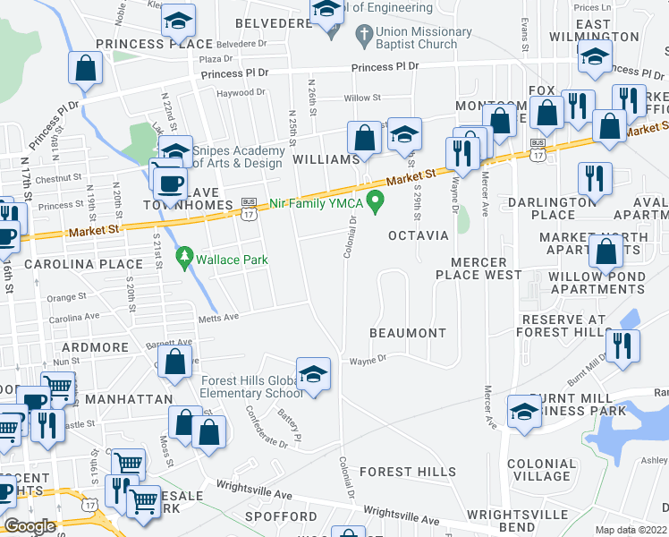 map of restaurants, bars, coffee shops, grocery stores, and more near 206 Colonial Drive in Wilmington