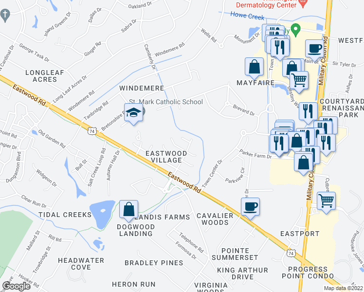 map of restaurants, bars, coffee shops, grocery stores, and more near 1217 Bayside Circle West in Wilmington