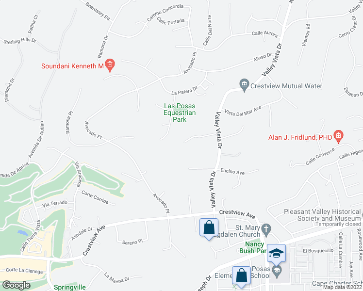 map of restaurants, bars, coffee shops, grocery stores, and more near 251 Valley Vista Drive in Camarillo