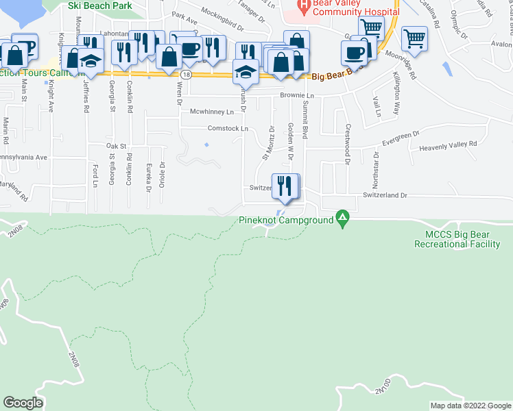 map of restaurants, bars, coffee shops, grocery stores, and more near 861 Thrush Drive in Big Bear Lake