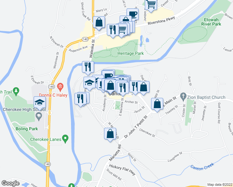 map of restaurants, bars, coffee shops, grocery stores, and more near in Canton